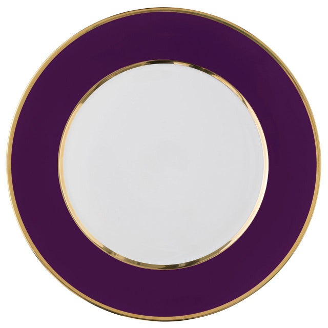 """""""Schubert"""" Charger in Aubergine & Narrow Gold Rim For Sale - Image 12 of 12"""