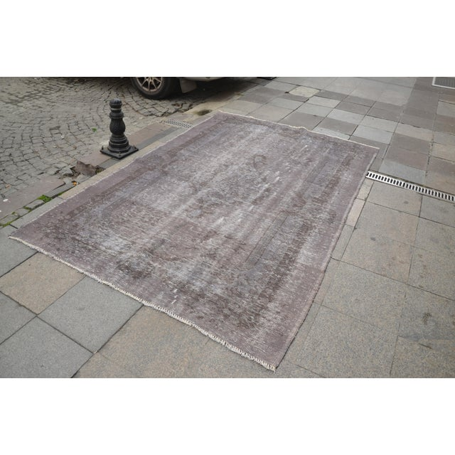 "Turkish Turkish Gray Overdyed Floor Rug - 5'10"" x 9'1"" For Sale - Image 3 of 7"