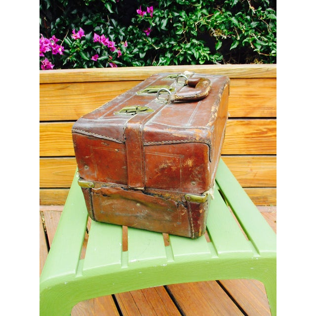 Industrial Antique Leather Fishing Tackle Box For Sale - Image 3 of 11
