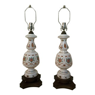 Bohemian Glass Lamps - a Pair For Sale
