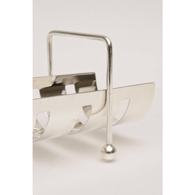 Italian Modernist Silver Plate Baguette Holder For Sale In Miami - Image 6 of 10