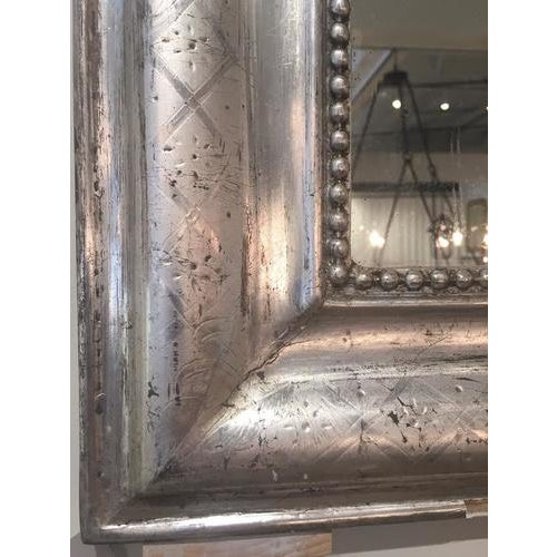 19th Century Silver Leaf Louis Philippe Mirror With Decorative Accents For Sale - Image 5 of 7