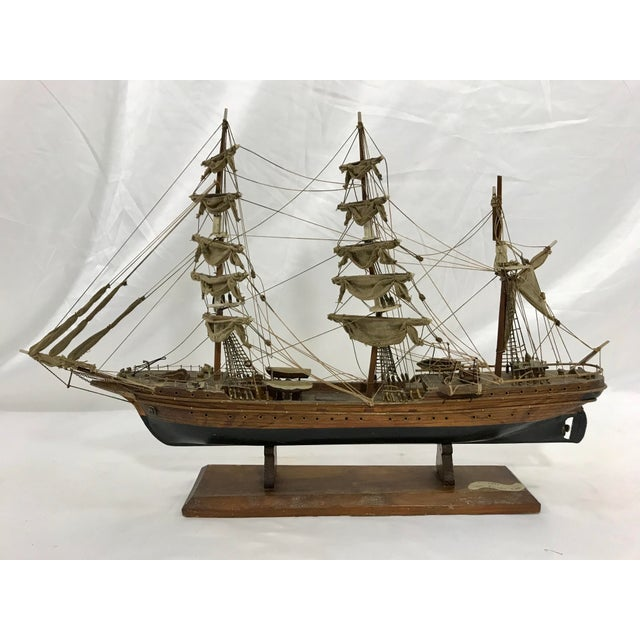 "Wood Spanish Hand Crafted Model of the Schooner ""Eagle"" For Sale - Image 7 of 7"