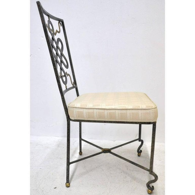 Mid-20th Century French Painted Iron Chairs With Fabric Cushions - Set of 6 For Sale In Dallas - Image 6 of 7