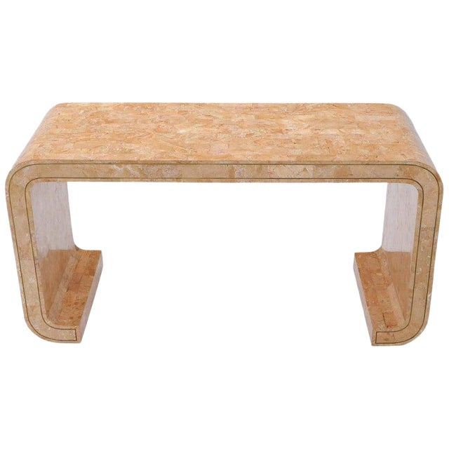 Tessellated Marble Stone Brass Inlay C Bracket Shape Console Sofa Table For Sale