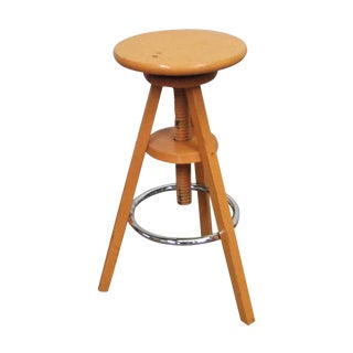 Vintage Industrial Modern Adjustable Wooden Stool For Sale