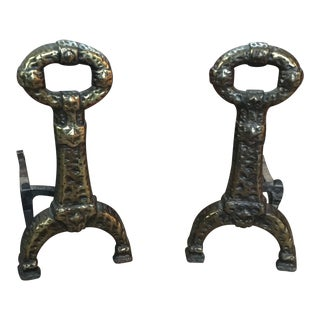 Vintage Cast Iron Brutalist Andirons - a Pair For Sale