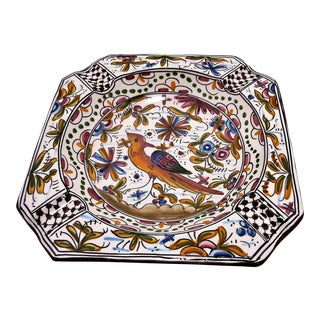 Vintage Hand Painted Bird Motif Ashtray For Sale