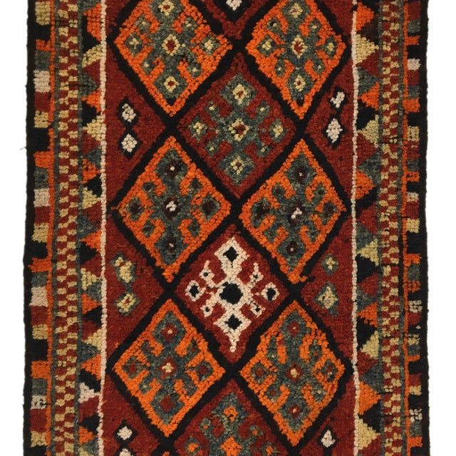 Mid 20th Century Tangerine and Rust Vintage Herki Runner For Sale - Image 5 of 6