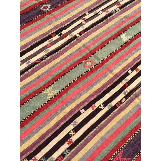 Vintage Striped Turkish Kilim Rug For Sale - Image 4 of 11