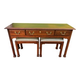 Traditional Mahogany Console Table & Ottomans- Set of 3 For Sale