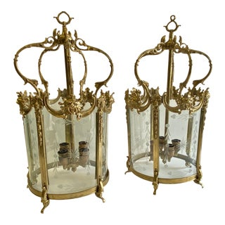 Vintage Italian Cast Brass Lanterns - a Pair For Sale
