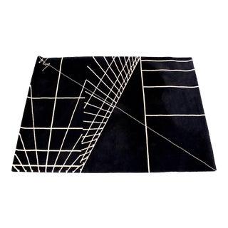 Contemporary Modern Signed Black Rectangular Area Rug Carpet 1980s Geometric For Sale
