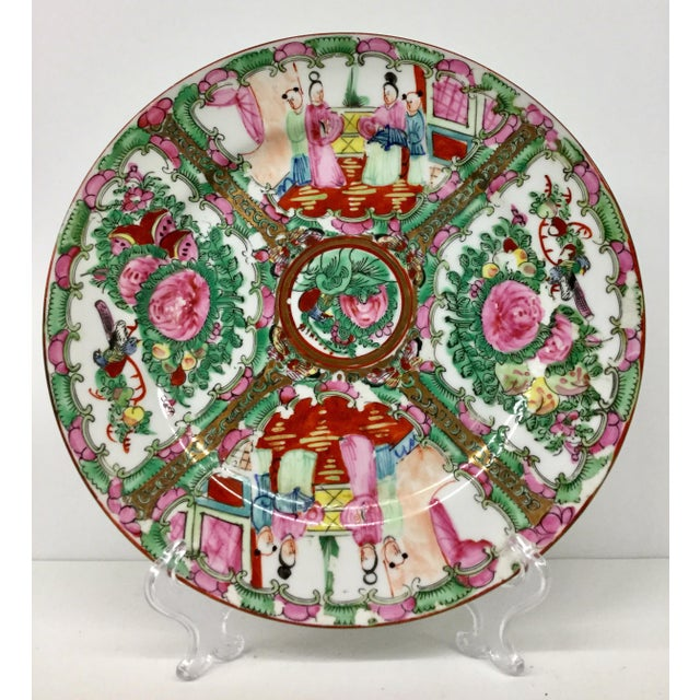 1930s Vintage Hand-Painted Chinese Decorative Plate For Sale - Image 9 of 9