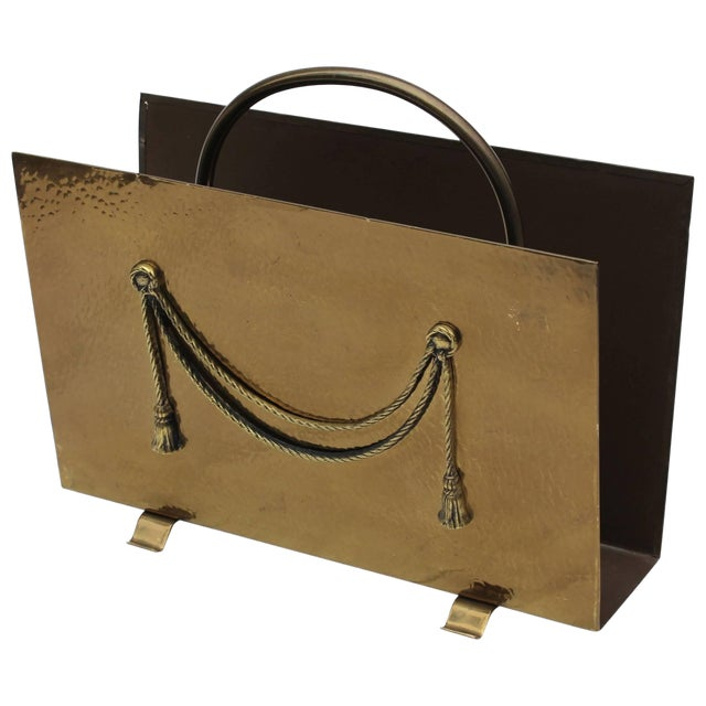 English Brass Magazine Holder by Peerage For Sale