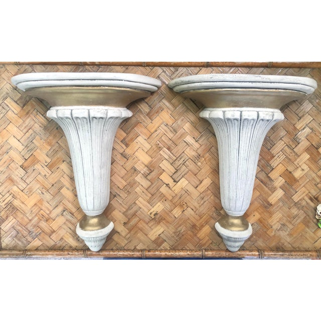 Neoclassical Hollywood Regency Gilt Plaster Wall Shelf Bracket Corbels - a Pair For Sale - Image 12 of 12