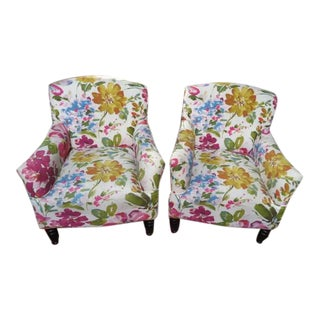 Vintage Style Colorful Abstract Floral Lounge Chairs - a Pair For Sale