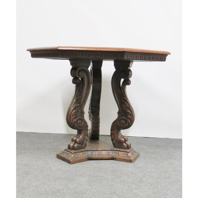 Italian Style Walnut Carved Center Table For Sale In Philadelphia - Image 6 of 6