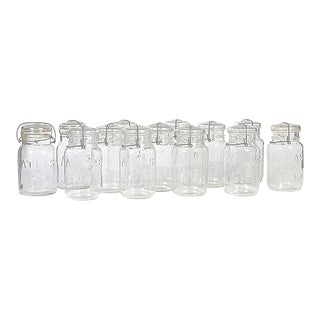 Large Kitchen Glass Canning Jars, Set of 13