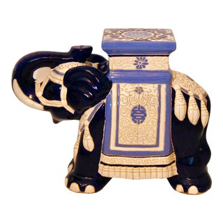 Vintage Blue and White Ceramic Elephant Garden Stool For Sale