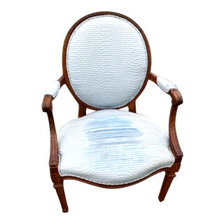 Mid 20th Century Carved French Arm Chair For Sale