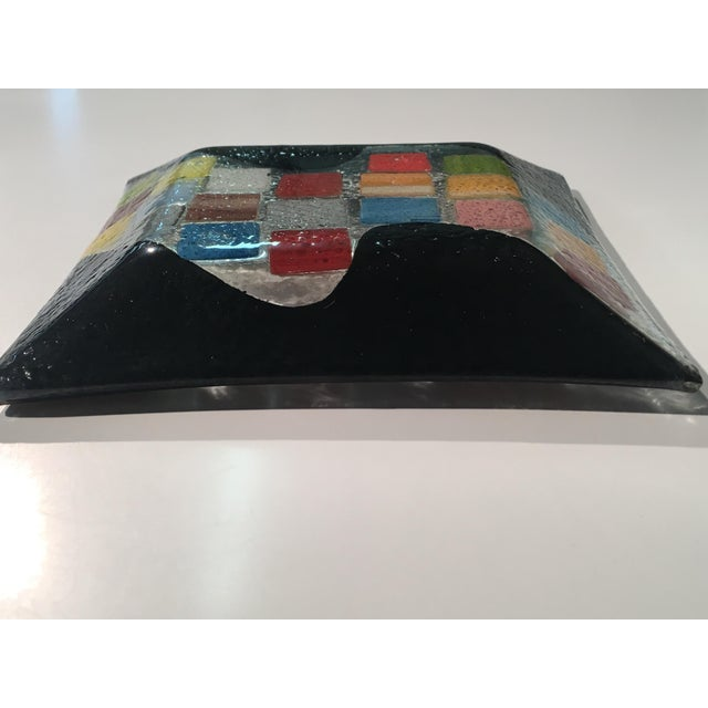 Glass Vintage 80s Abstract Textured Glass Dish For Sale - Image 7 of 9