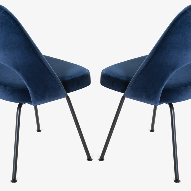 Fabric Saarinen Executive Armless Chairs in Navy Velvet, Obsidian Matte - Set of 6 For Sale - Image 7 of 13