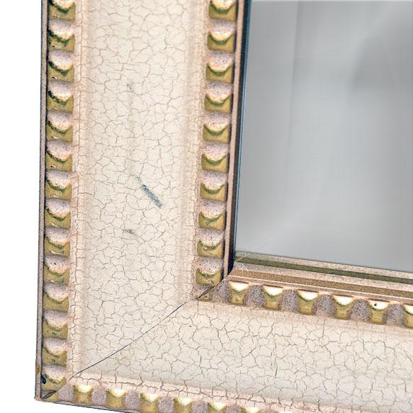Contemporary Cream Crackle Finished Rectangular Wood Framed Wall Mirror For Sale - Image 4 of 8