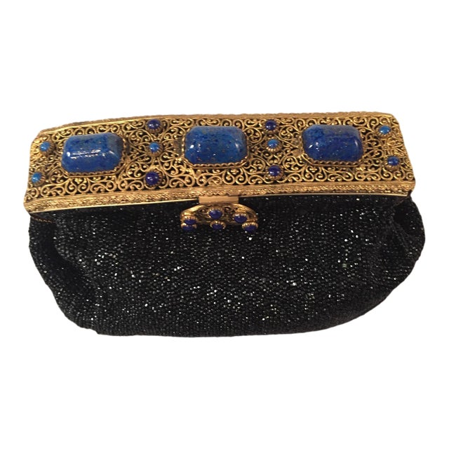 French Caviar Beaded Black Evening Bag With Lapis Lazuli and Gold Toned Wirework Frame For Sale