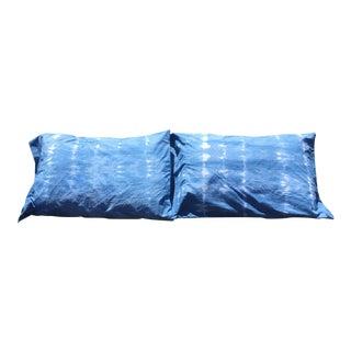 Hand Dyed All Natural Indigo Shibori Pillows - A Pair