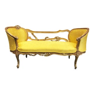 19th Century French Rococo Louis XV Giltwood Settee For Sale