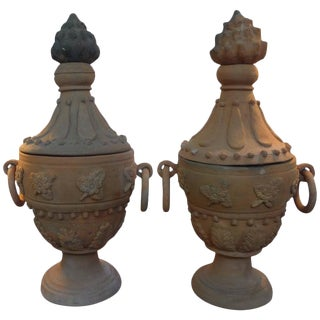1940s Neoclassical Style Terra Cotta Urns - a Pair For Sale