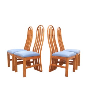 Mid Century Slatted Sculptural Dining Chairs- Set of 4 For Sale