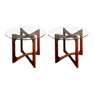 Pair of Adrian Pearsall Walnut and Glass End Tables For Sale