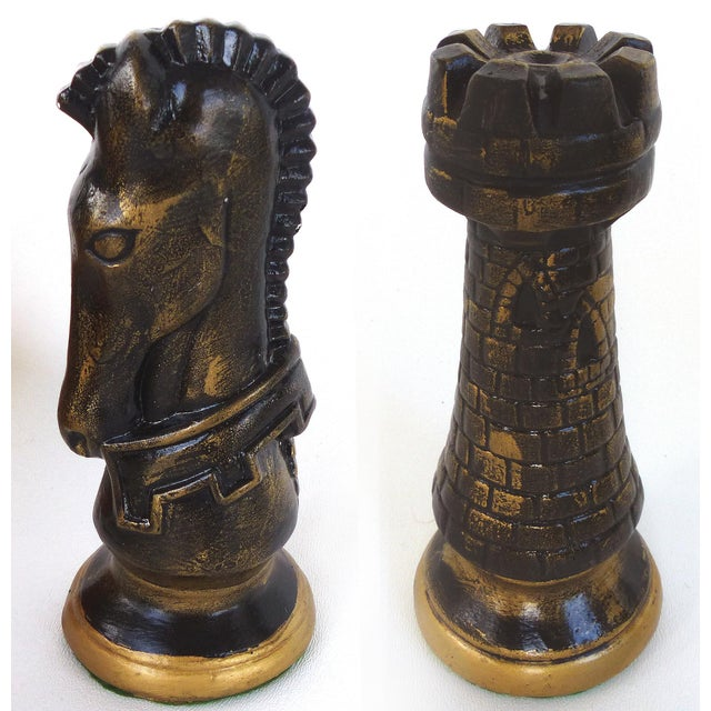 Mid 20th Century Monumental Wood Case Chess Set W/ Plaster Chess Pieces For Sale - Image 5 of 11