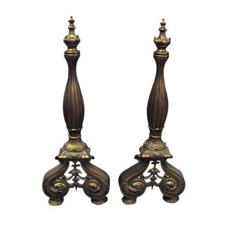 Turn of the Century French Fireplace Bronze Andirons - a Pair For Sale