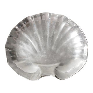 Wilton Pewter Shell Shaped Silver Serving Platter or Tray For Sale