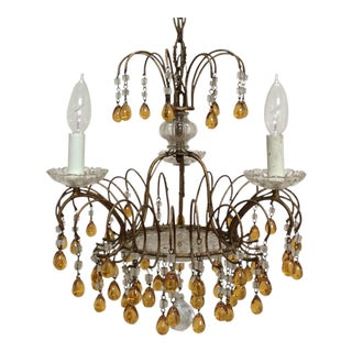 Vintage Yellow Murano Drop Chandelier