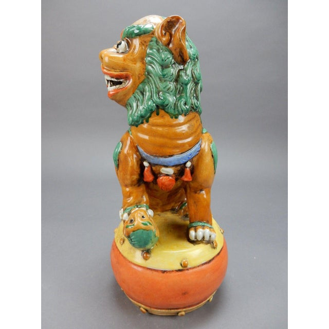 Late 19th Century Late 19th Century Antique Chinese Nan King Orange Drip Glazed Female Foo Dog For Sale - Image 5 of 13