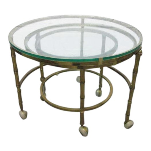 Brass Faux Bamboo Nesting Tables For Sale