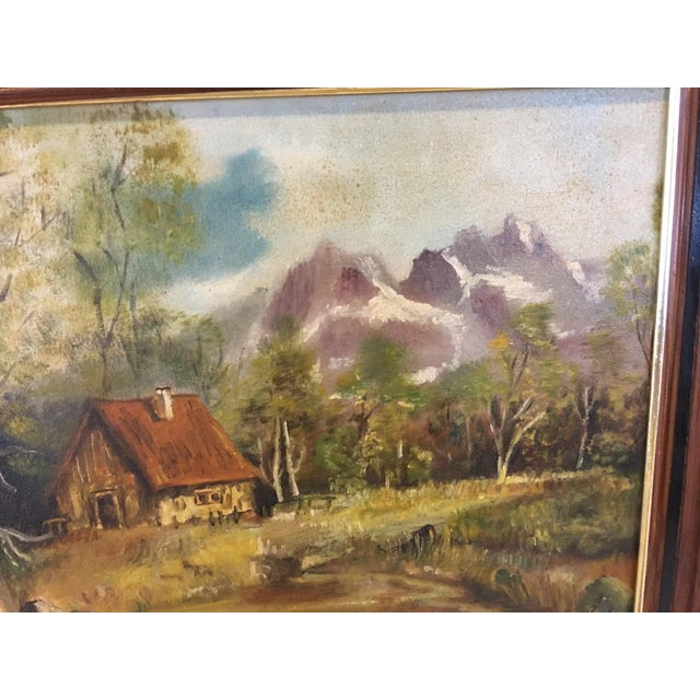 1972 Hudson Valley Mountain Cabin Oil Painting For Sale In New York - Image 6 of 7