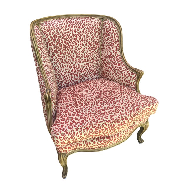 Red 1940s Louis XV Style French Accent Chair Upholstered in Red Leopard Fabric For Sale - Image 8 of 8