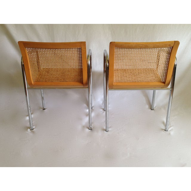 Chrome Dining Chairs with Caning - Set of 6 - Image 5 of 8