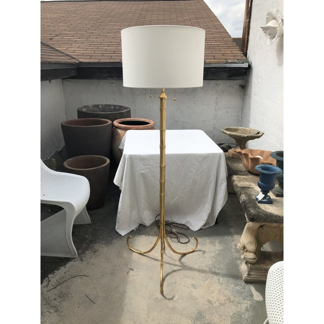 Gilt Metal Faux Bamboo Floor Lamp by Circa Lighting For Sale - Image 13 of 13