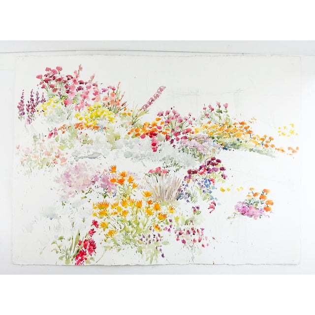 Watercolor on paper of abundant garden flowers. Looks to be an unfinished painting. Unsigned. Unframed.