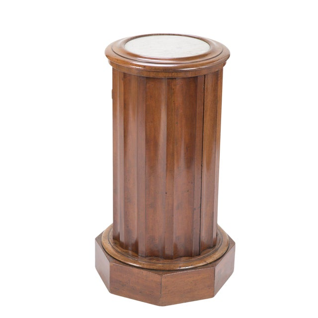 Octagonal Base Mahogany Side Cabinet With Round Inset Marble Top For Sale