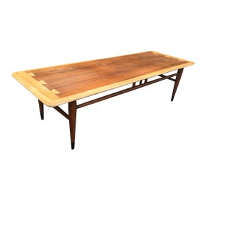 Mid-Century Modern Lane Walnut and White Oak Coffee Table For Sale