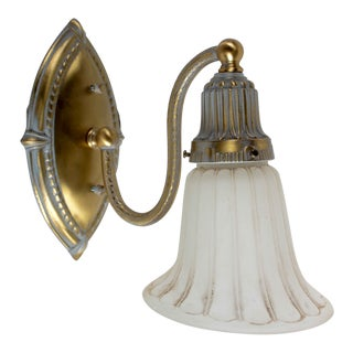 20th Century Victorian Style Ornate Brass Wall Sconce For Sale