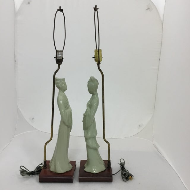 Tall Asian Man and Women Lamps- a Pair For Sale - Image 5 of 8