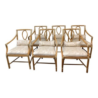 McGuire Leona Arm Chairs + Fortuny Style Cushions - Set of Six For Sale